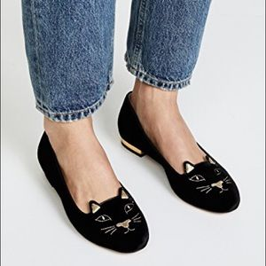 CHARLOTTE OLYMPIA BLACK AND GOLD KITTY FLATS